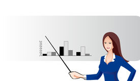 Business Women. Smiling with hand raised as to be pointing to a business chart Stock Photo