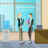Business Women Speaking Two Colleague Communication Office Interior Stock Photography