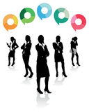 Business women speech bubbles Stock Images