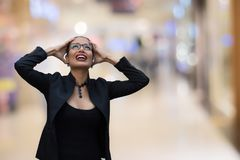 Business women are stressed. Business woman are stressed in blurred background Stock Photo
