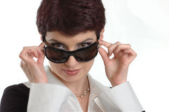Business women in sunglasses. Young beautiful model in sunglasses Stock Photos
