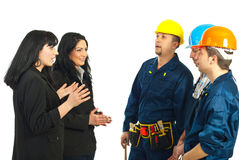 Business women talking with workers men Stock Photography