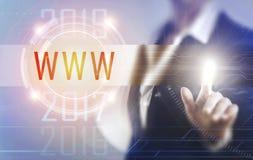 Business women touching the www screen Stock Photo
