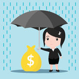 Business women with umbrella in the rain protects a stacks Royalty Free Stock Images
