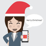 Business women wear santa hat. Illustration Royalty Free Stock Image