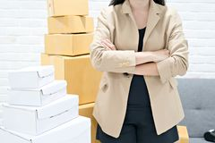 Business women wearing brown suit with stack cardboard boxes royalty free stock photography