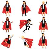 Business women wearing formal office costumes with red superhero capes. Female characters in different poses. Successful. Business women in formal office royalty free illustration