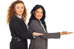 Business women welcoming. Two beauty business women welcoming with hands to copy space isolated on white background Stock Image