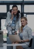 Business women with white business doodles over laptop. Digital composite of Business women with white business doodles over laptop Stock Photography