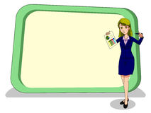 Business women in wonder emotion with huge blank boards Royalty Free Stock Photos