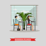 Business women work with laptops in office. Vector banner concept in flat style design. Royalty Free Stock Image