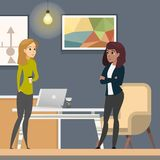 Business Women Working in Co-wotking as Freelancer stock illustration