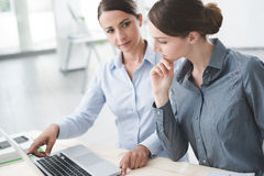Business women working together on a laptop. Business women at office desk working together on a laptop, teamwork concept Royalty Free Stock Images