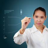 Business women writing graph Stock Images