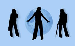 Business Womens and globe. Business Womens (outline) and globe . Illustration Stock Image