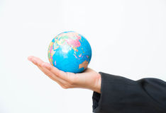 Business wonen holding globe Stock Image