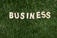 Business Wooden Sign On Grass Royalty Free Stock Image