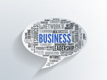Business word cloud on a 3d paper speech bubble stock photo