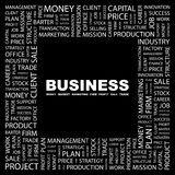 BUSINESS. Word cloud illustration. Tag cloud concept collage Royalty Free Stock Photo