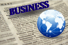 Business word cloud with a news paper and a world globe Royalty Free Stock Images