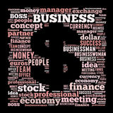 Business word cloud. Business related word cloud illustration, dollar symbol Royalty Free Stock Photos
