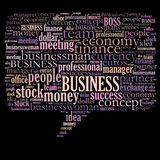 Business word cloud. Business related word cloud illustration, speech bubble Stock Photos