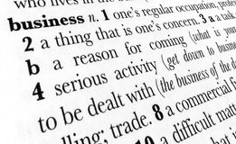Business word dictionary term. Business word dictionary definition in great perspective Royalty Free Stock Images
