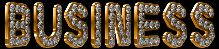 Business word incrusted with diamonds Royalty Free Stock Images