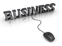 Business word and a mouse connected to it. 3d business word and a mouse with cable is connected to it Stock Photo