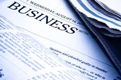 Business word on newspaper Stock Photography