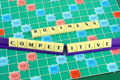 Business wording in queue scrabble Royalty Free Stock Image