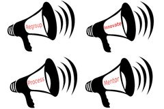 Business Words Bullhorn Collage 2 Royalty Free Stock Images