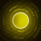 Business words and circle. Business words and yellow circle. Dark background Royalty Free Stock Image