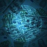 Business words on money background. Sphere consisting of business words on money background Stock Illustration