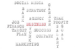 Business words printed on typewriter Royalty Free Stock Photography