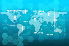 Business words with world map on blue Royalty Free Stock Photo