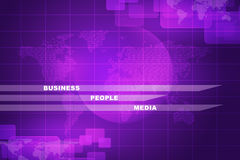 Business words with world map. On purple abstract background Stock Images