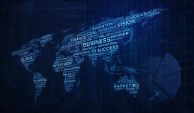 Business words world map shape on graph and city tower backgroun Royalty Free Stock Images