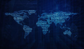 Business words world map shape on graph and city tower backgroun Stock Photos