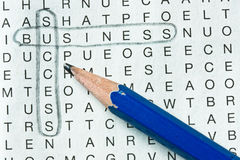 Business wordsearch. Wordsearch success business with pencil Royalty Free Stock Images