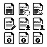 Business or work contract signing  icons set. Contract document icons set isolated on white Royalty Free Stock Image