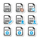Business or work contract signing  icons set. Contract document labels set isolated on white Stock Image