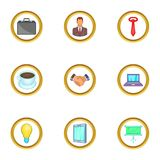 Business work icons set, cartoon style. Business work icons set. Cartoon set of 9 business work vector icons for web isolated on white background Stock Image