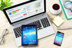 Business work: laptop, tablet and smartphone on office table Royalty Free Stock Photography