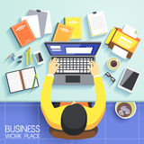 Business work place in flat design Stock Photography
