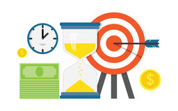 Business work planning and timing,. Strategy, Flat design concept with target and arrow Royalty Free Stock Images