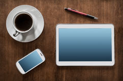 Business Work With Tablet & Smartphone Royalty Free Stock Images