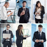 Business work with technology collage. Composition of business photo concept with men and women working with computers stock photography