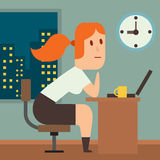 Business work time lag delay vector illusutration. Procrastination concept. People delay, time late, business situations cartoon vector. Time delay, time lag Stock Images