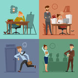 Business work time lag vector. Illustration. Procrastination concept. People delay Royalty Free Stock Photos
